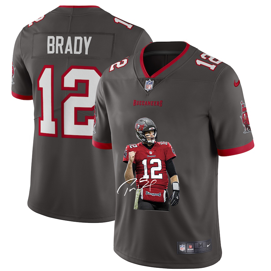 Men's Tampa Bay Buccaneers #12 Tom Brady Grey Player Portrait Edition 2020 Vapor Untouchable Stitched NFL Nike Limited Jersey