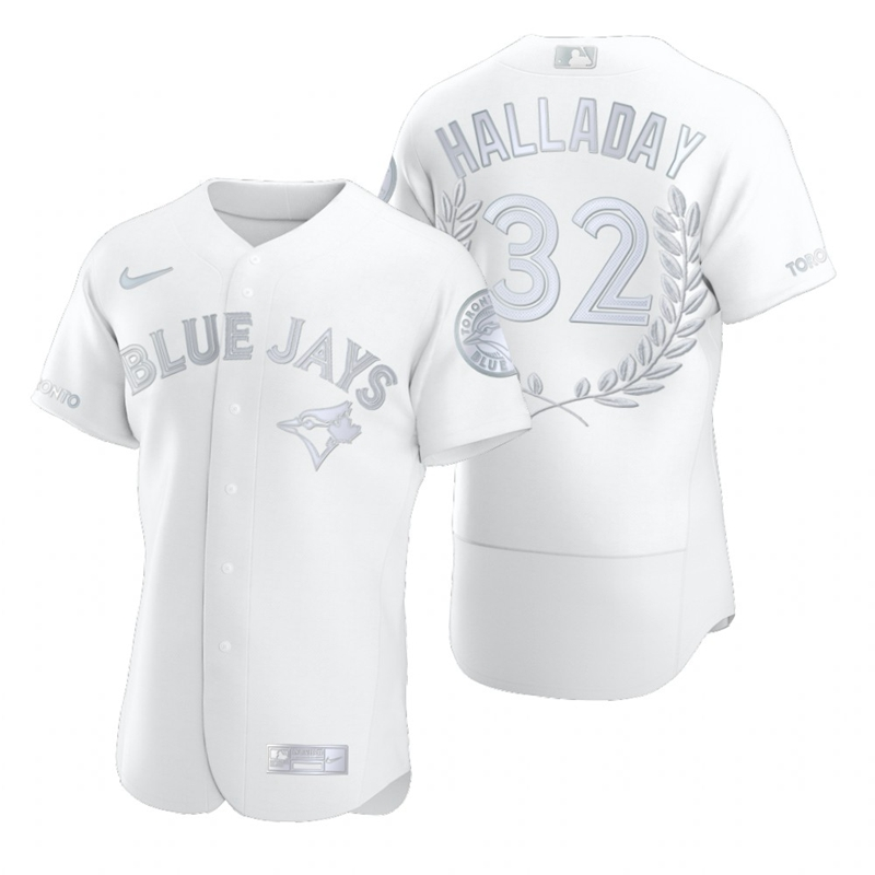 Men's Toronto Blue Jays #32 Roy Halladay White Nike Flexbase Fashion Jersey