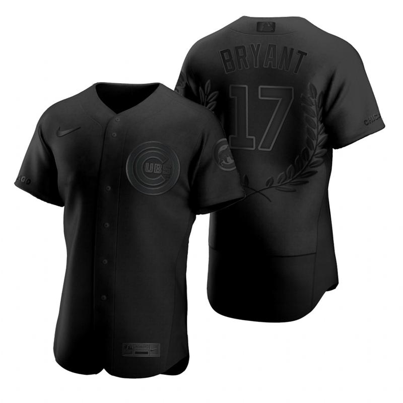 Men's Chicago Cubs #17 Kris Bryant Black Nike Flexbase Fashion Jersey