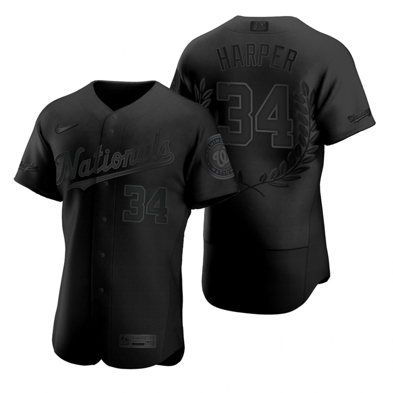 Men's Washington Nationals #34 Bryce Harper Black Nike Flexbase Fashion Jersey