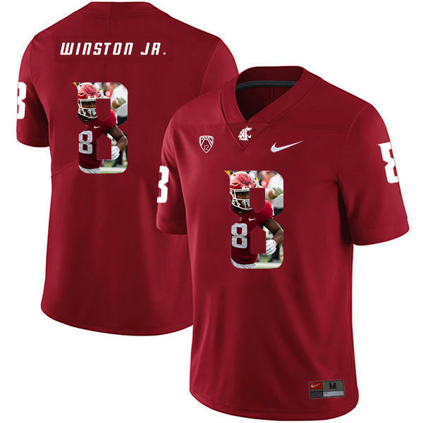 Washington State Cougars 8 Easop Winston Jr. Red Fashion College Football Jersey