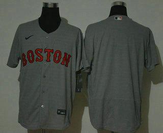 Men's Boston Red Sox Blank Grey Stitched MLB Flex Base Nike Jersey