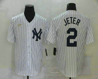 Men's New York Yankees #2 Derek Jeter White Throwback Stitched MLB Cool Base Nike Jersey