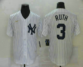 Men's New York Yankees #3 Babe Ruth White Throwback Stitched MLB Cool Base Nike Jersey