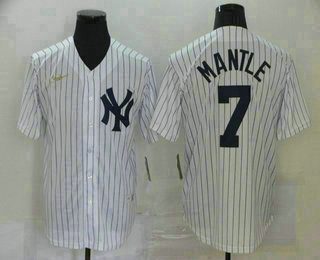 Men's New York Yankees #7 Mickey Mantle White Throwback Stitched MLB Cool Base Nike Jersey