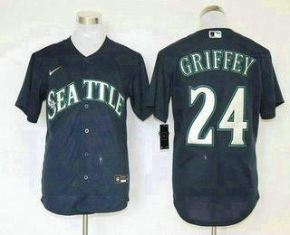 Men's Seattle Mariners #24 Ken Griffey Jr. Navy Blue Stitched MLB Cool Base Nike Jersey