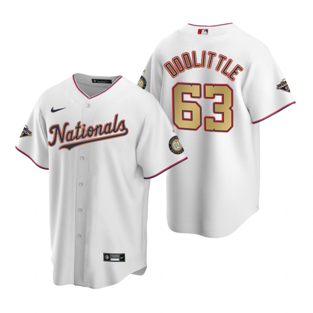Men's Washington Nationals #63 Sean Doolittle White Gold 2019 World Series Champions Stitched MLB Cool Base Nike Jersey