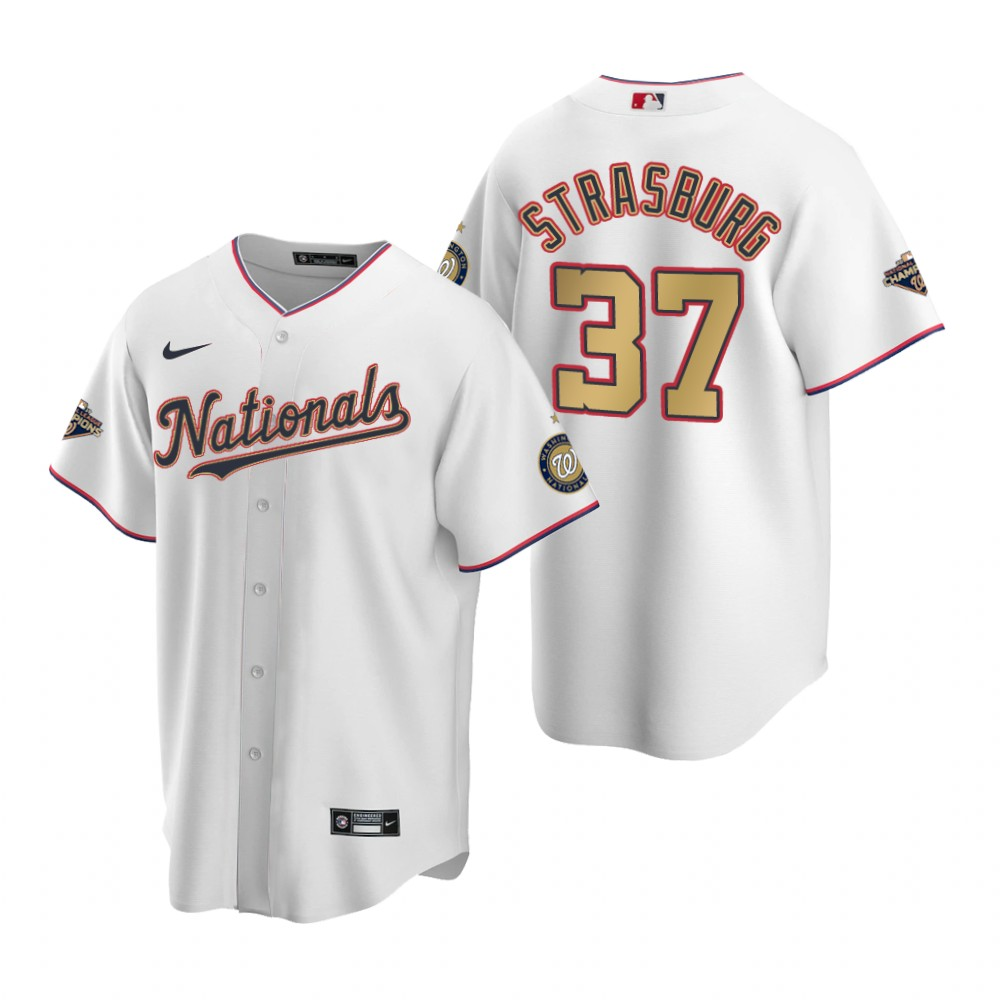Men's Washington Nationals #37 Stephen Strasburg White Gold 2019 World Series Champions Stitched MLB Cool Base Nike Jersey