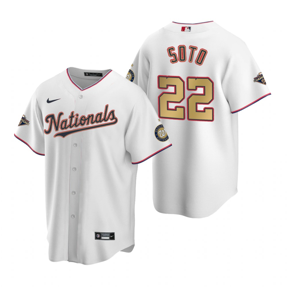 Men's Washington Nationals #22 Juan Soto White Gold 2019 World Series Champions Stitched MLB Cool Base Nike Jersey