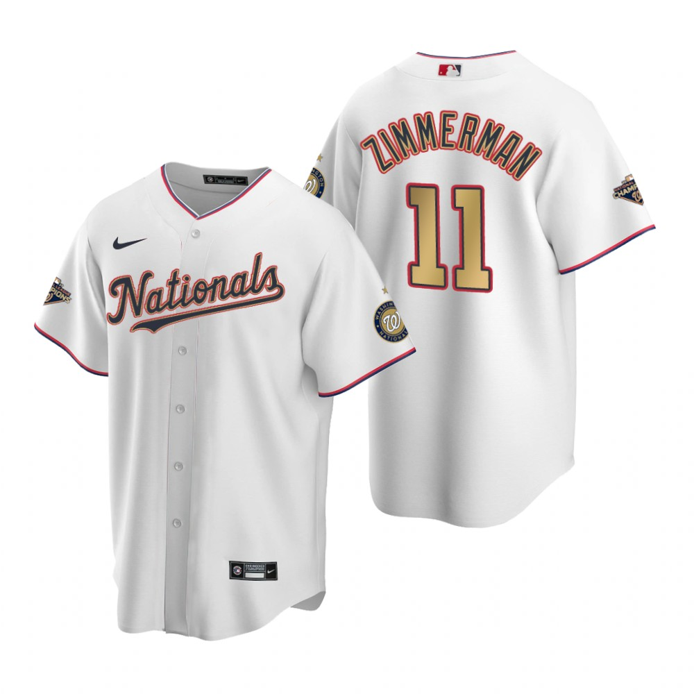Men's Washington Nationals #11 Ryan Zimmerman White Gold 2019 World Series Champions Stitched MLB Cool Base Nike Jersey