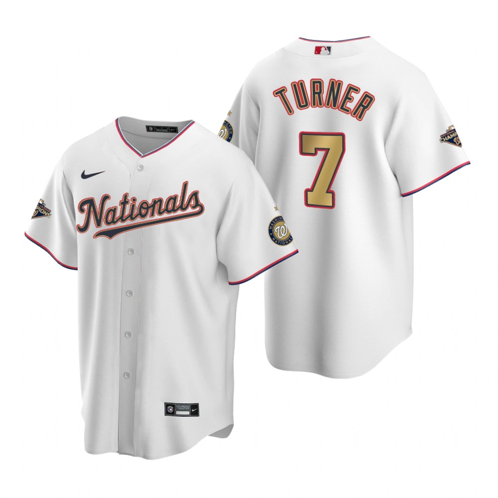 Men's Washington Nationals #7 Trea Turner White Gold 2019 World Series Champions Stitched MLB Cool Base Nike Jersey
