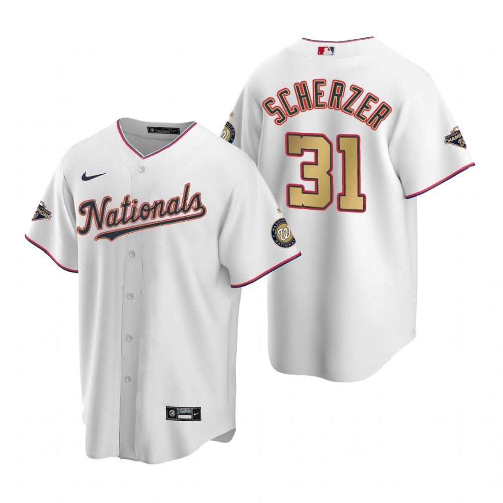Men's Washington Nationals #31 Max Scherzer White Gold 2019 World Series Champions Stitched MLB Cool Base Nike Jersey