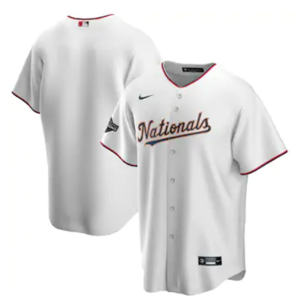 Men's Washington Nationals White Gold 2019 World Series Champions Blank MLB Cool Base Nike Jersey