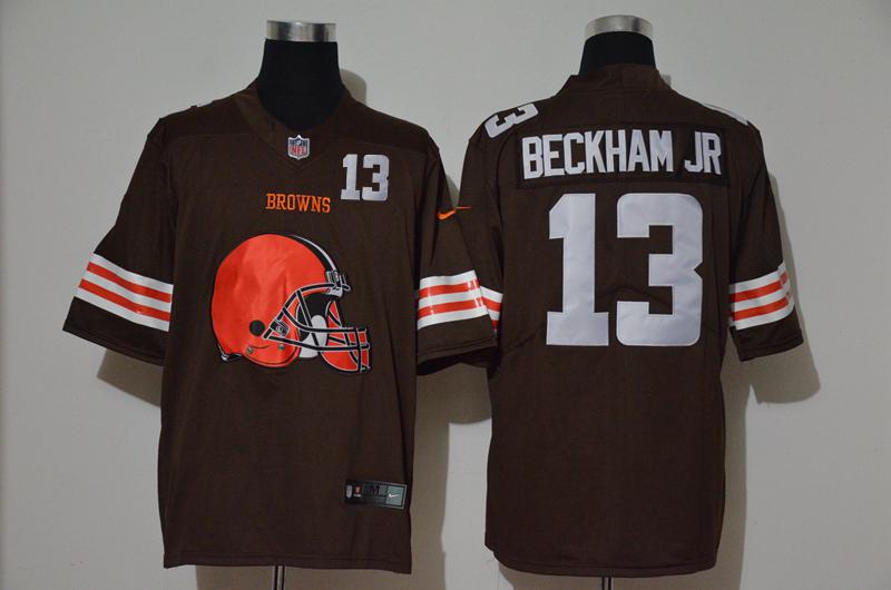 Men's Cleveland Browns #13 Odell Beckham Jr Brown 2020 Big Logo Number Vapor Untouchable Stitched NFL Nike Fashion Limited Jersey