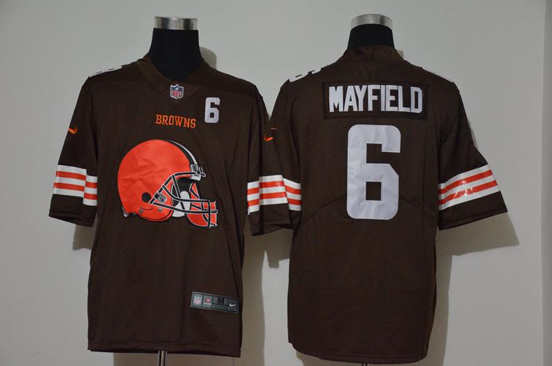 Men's Cleveland Browns #6 Baker Mayfield Brown 2020 Big Logo Number Vapor Untouchable Stitched NFL Nike Fashion Limited Jersey