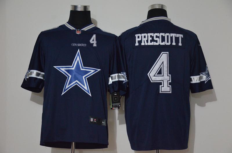 Men's Dallas Cowboys #4 Dak Prescott Navy Blue 2020 Big Logo Number Vapor Untouchable Stitched NFL Nike Fashion Limited Jersey