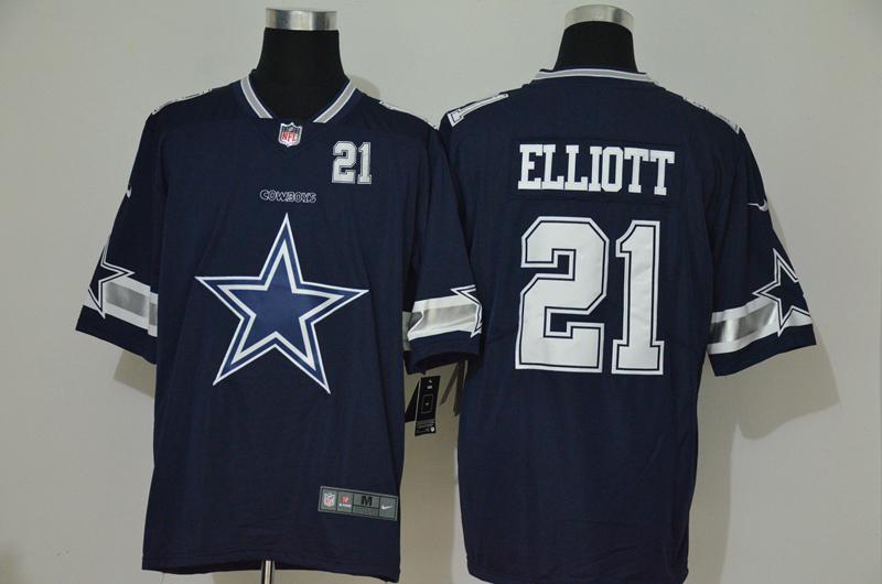 Men's Dallas Cowboys #21 Ezekiel Elliott Navy Blue 2020 Big Logo Number Vapor Untouchable Stitched NFL Nike Fashion Limited Jersey