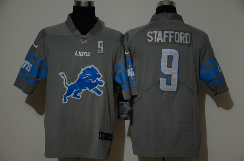 Men's Detroit Lions #9 Matthew Stafford Grey 2020 NEW Team Logo Number Vapor Untouchable Stitched NFL Nike Limited Jersey