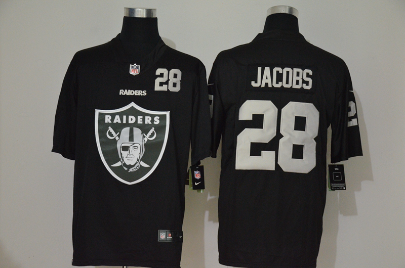 Men's Las Vegas Raiders #28 Josh Jacobs Black 2020 Big Logo Number Vapor Untouchable Stitched NFL Nike Fashion Limited Jersey