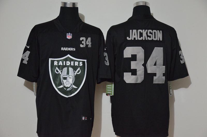Men's Las Vegas Raiders #34 Bo Jackson Black 2020 Big Logo Number Vapor Untouchable Stitched NFL Nike Fashion Limited Jersey