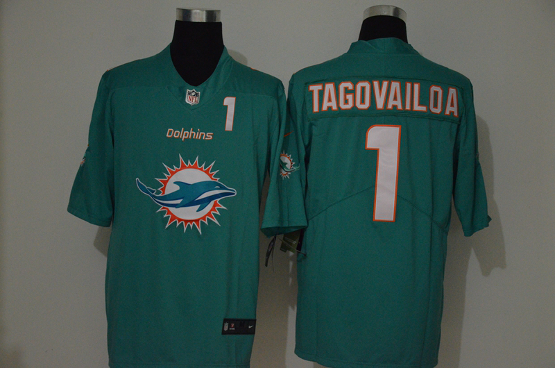 Men's Miami Dolphins #1 Tua Tagovailoa Green 2020 Big Logo Number Vapor Untouchable Stitched NFL Nike Fashion Limited Jersey