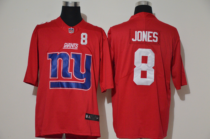 Men's New York Giants #8 Daniel Jones Red 2020 Big Logo Number Vapor Untouchable Stitched NFL Nike Fashion Limited Jersey