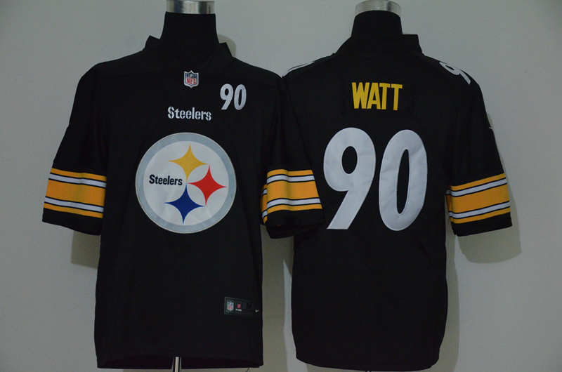 Men's Pittsburgh Steelers #90 T. J. Watt Black 2020 Big Logo Number Vapor Untouchable Stitched NFL Nike Fashion Limited Jersey
