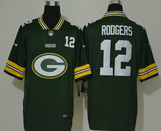 Men's Green Bay Packers #12 Aaron Rodgers Green 2020 Big Logo Number Vapor Untouchable Stitched NFL Nike Fashion Limited Jersey