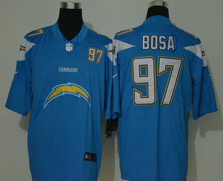 Men's Los Angeles Chargers #97 Joey Bosa Light Blue 2020 Big Logo Number Vapor Untouchable Stitched NFL Nike Fashion Limited Jersey