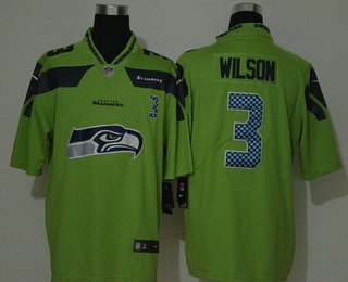 Men's Seattle Seahawks #3 Russell Wilson Green 2020 Big Logo Number Vapor Untouchable Stitched NFL Nike Fashion Limited Jersey