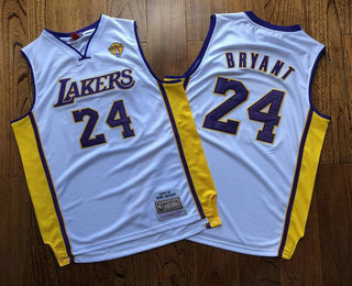 Men's Los Angeles Lakers #24 Kobe Bryant White Finals Patch 2008-09 Hardwood Classics Soul AU Throwback Jersey