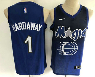 Men's Orlando Magic #1 Penny Hardaway Blue with Black Salute Nike Swingman Stitched NBA Jersey