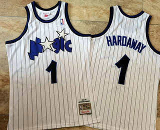 Men's Orlando Magic #1 Penny Hardaway 1993-94 White Hardwood Classics Soul AU Throwback Jersey