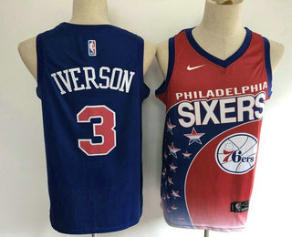 Men's Philadelphia 76ers #3 Allen Iverson Red with Blue Salute Nike Swingman Stitched NBA Jersey