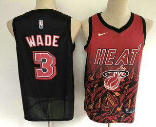 Men's Miami Heat #3 Dwyane Wade Red with Black Salute Nike Swingman Stitched NBA Jersey