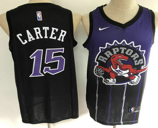 Men's Toronto Raptors #15 Vince Carter Purple with Black Salute Nike Swingman Stitched NBA Jersey