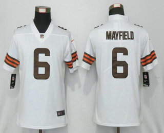 Women's Cleveland Browns #6 Baker Mayfield White 2020 NEW Vapor Untouchable Stitched NFL Nike Limited Jersey