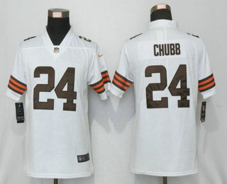 Women's Cleveland Browns #24 Nick Chubb White 2020 NEW Vapor Untouchable Stitched NFL Nike Limited Jersey