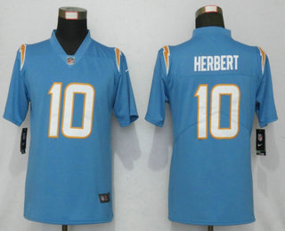 Women's Los Angeles Chargers #10 Justin Herbert Light Blue 2020 NEW Vapor Untouchable Stitched NFL Nike Limited Jersey