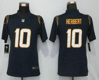 Women's Los Angeles Chargers #10 Justin Herbert Navy Blue 2020 NEW Vapor Untouchable Stitched NFL Nike Limited Jersey