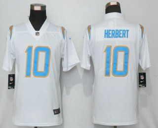 Women's Los Angeles Chargers #10 Justin Herbert White 2020 NEW Vapor Untouchable Stitched NFL Nike Limited Jersey