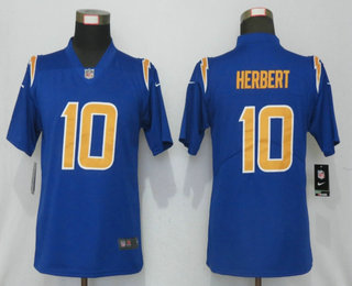 Women's Los Angeles Chargers #10 Justin Herbert Royal Blue 2020 NEW Color Rush Stitched NFL Nike Limited Jersey