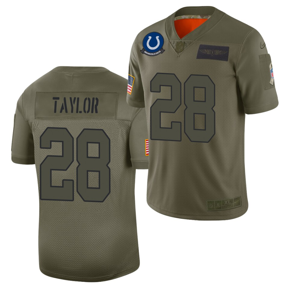 Men's Indianapolis Colts #28 Jonathan Taylor Olive 2019 Salute to Service Limited Nike Jersey