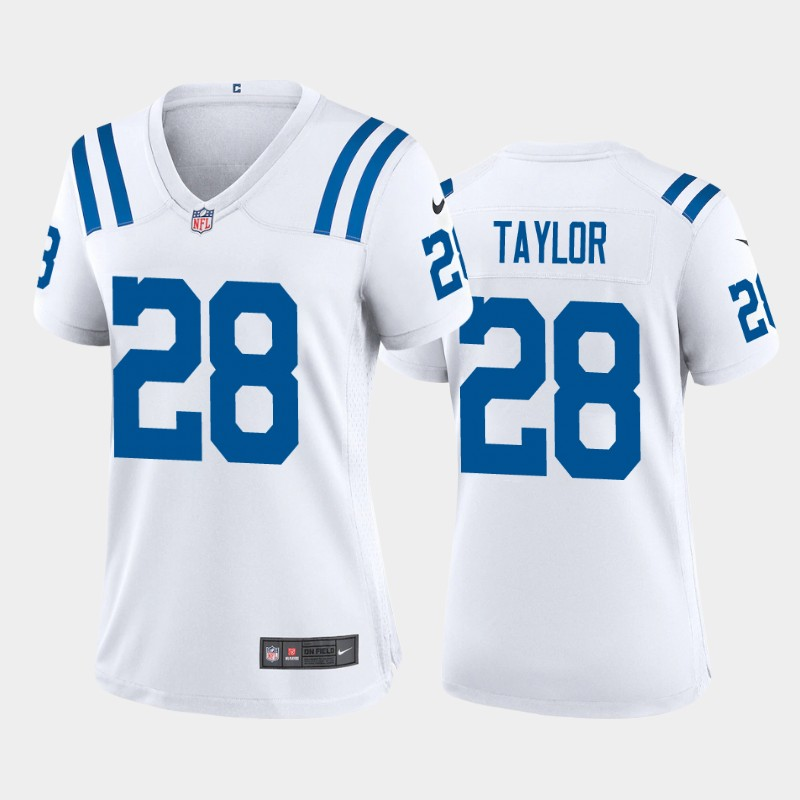 Women's Indianapolis Colts #28 Jonathan Taylor 2020 NFL Draft Game White Nike Jersey