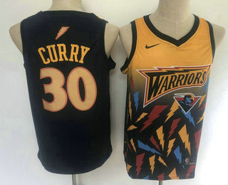 Men's Golden State Warriors #30 Stephen Curry Black with Yellow Salute Nike Swingman Stitched NBA Jersey