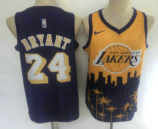 Men's Los Angeles Lakers #24 Kobe Bryant Purple with Yellow Salute Nike Swingman Stitched NBA Jersey