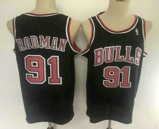 Men's Chicago Bulls #91 Dennis Rodman 1997-98 Black Hardwood Classics Soul Swingman Throwback Jersey