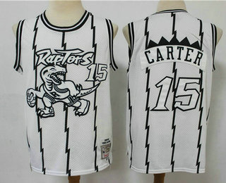 Men's Toronto Raptors #15 Vince Carter 1998-99 White Silver Hardwood Classics Soul Swingman Throwback Jersey