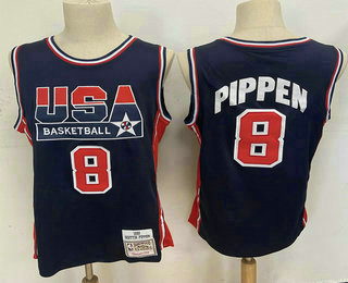 USA Basketball 1992 Olympic Dream Team #8 Scottie Pippen 1992 Blue Hardwood Classics Soul Swingman Throwback Jersey