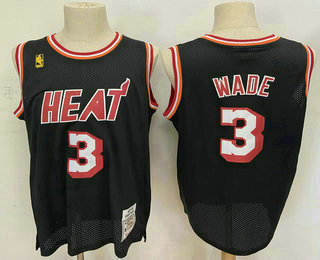 Men's Miami Heat #3 Dwyane Wade Black 2003-04 Hardwood Classics Soul Swingman Throwback Jersey